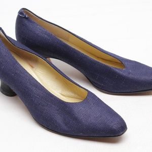 Saks Fifth Avenue Navy Fabric Kitten Heel Pumps